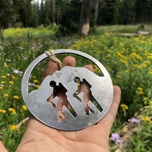 Mountain Hikers Rustic Raw Steel Ornament