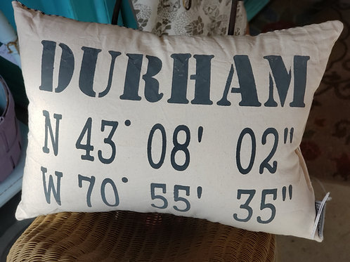 Durham Coordinates Pillow Charcoal on Canvas