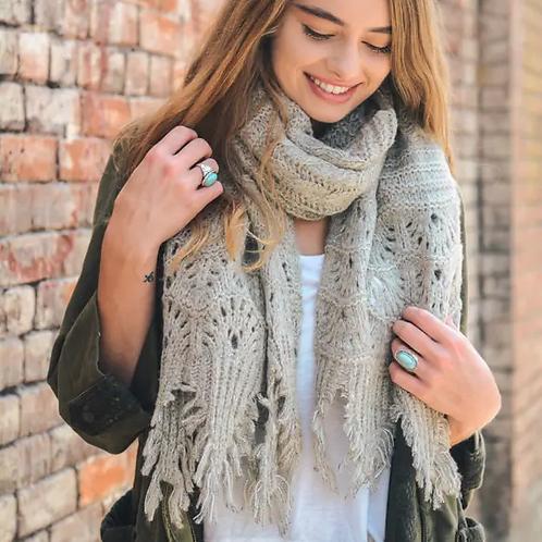 Knit Scallop Lace Scarf-Oatmeal