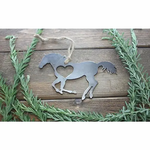 Horse Running Rustic Steel Ornament with Heart