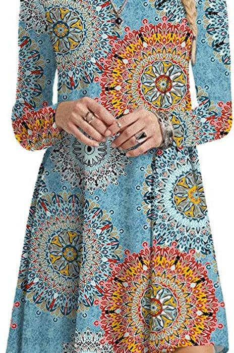 Long Sleeve Tunic Dress - Mandala