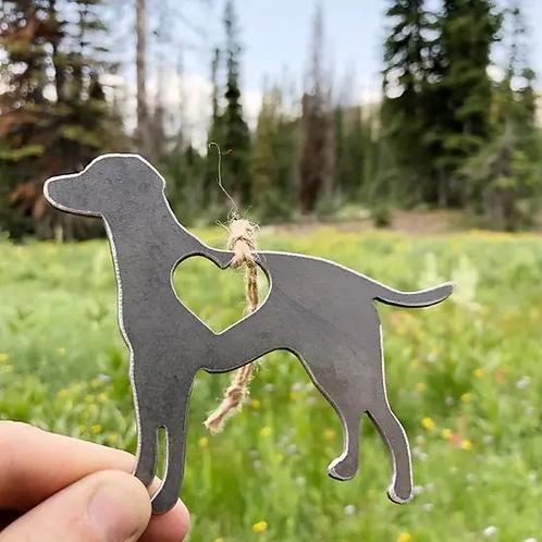 Dog Rustic Steel Ornament
