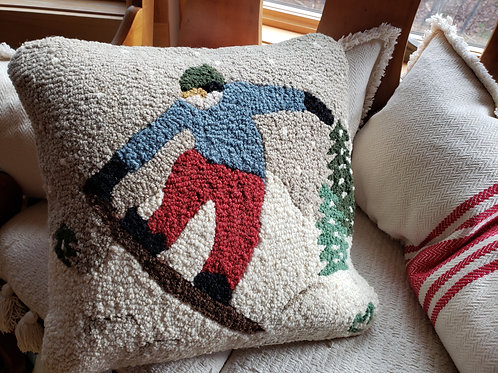 Snowboarder Hooked Wool Pillow