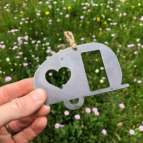 Vintage Camper RV Rustic Steel Ornament with Heart