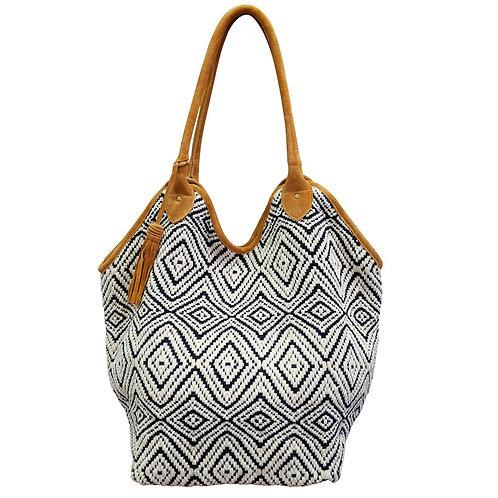 Black and White Diamond Bucket Tote Bag
