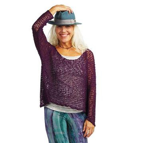 Crocheted Long Sleeve Soul Warmer-PLUM