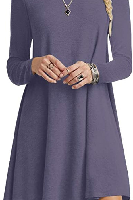 Long Sleeve Tunic Dress - Purple Gray