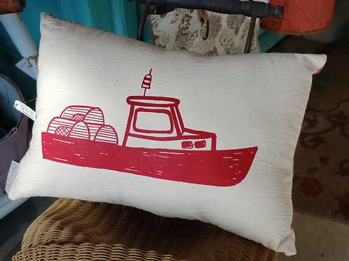 Lobster Boat Pillow Red