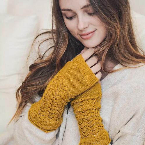 Fingerless Hand Warmers-Mustard