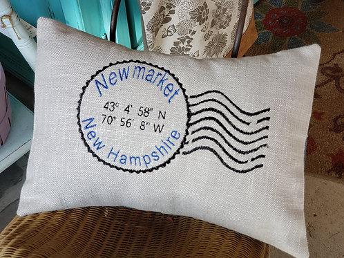 Newmarket Stamp Coordinates Lumbar Pillow