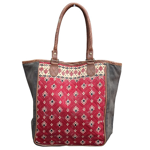 Red Quilt Tote Bag