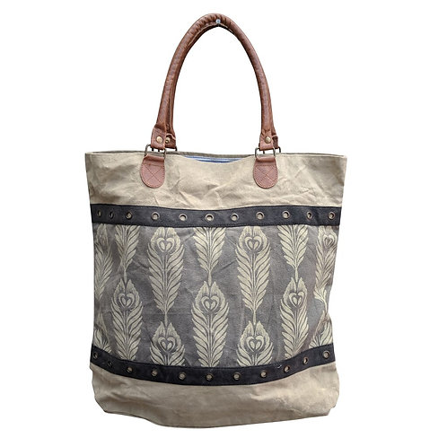 Gray Feather Tote Bag