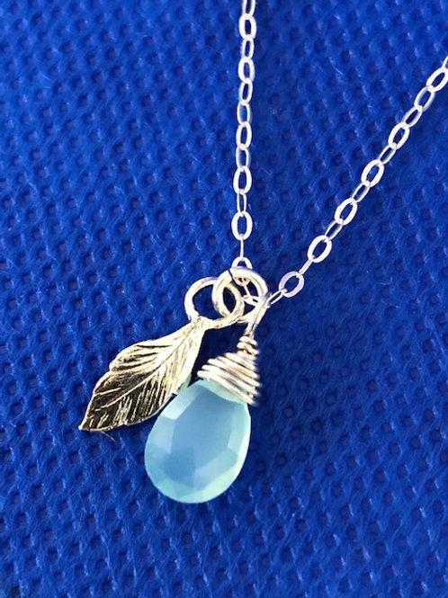Aqua & Silver Leaf Pendant