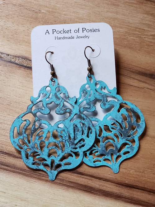 Damask Filigree Aqua Blue Patina EAR-BO-003