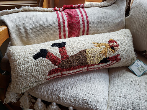 Long Sled Hooked Wool Pillow