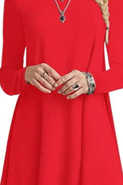 Long Sleeve Tunic Dress - Lobstah Red