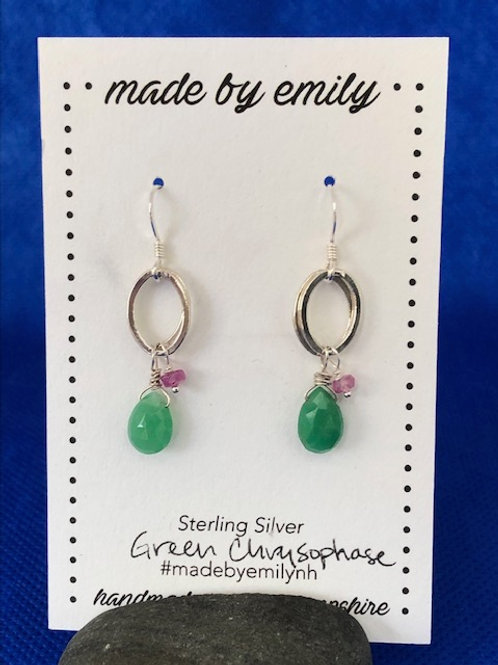 Green Chalcedony with Pink Tourmaline Sterling Silver
