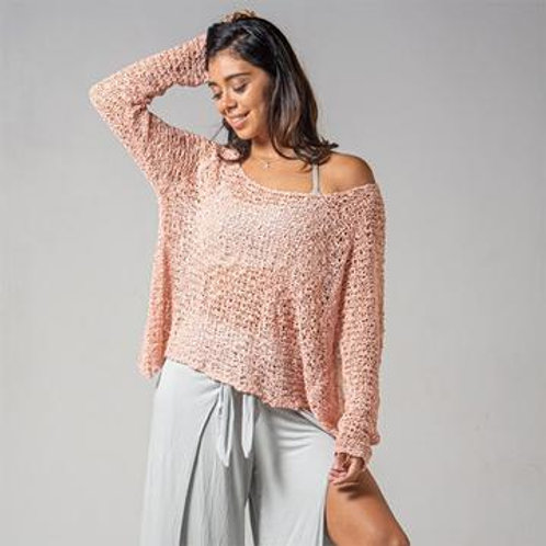 Crocheted Long Sleeve Soul Warmer-BLUSH