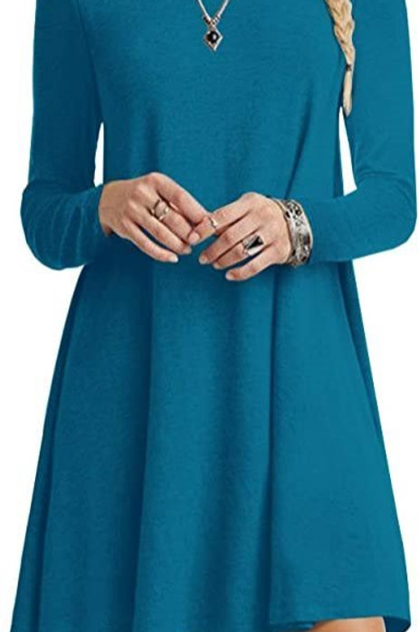 Long Sleeve Tunic Dress - Lamprey Teal