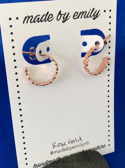 Rose Gold Heart Hoops