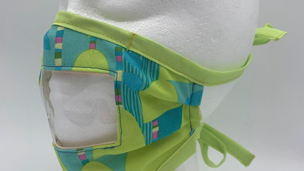 Playful Green Print - Adaptive Mask w/ Vinyl Window