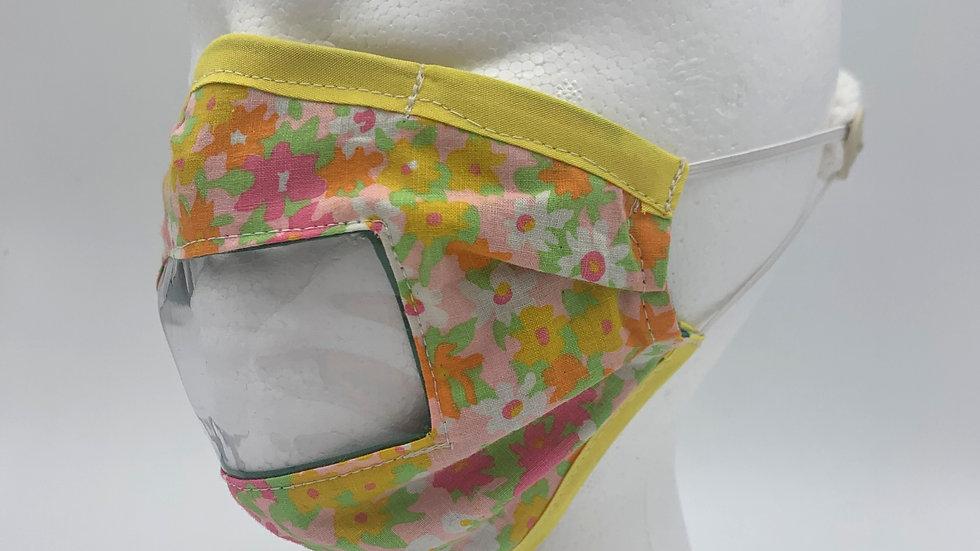 70s Floral - Adaptive Mask w/ Vinyl Window