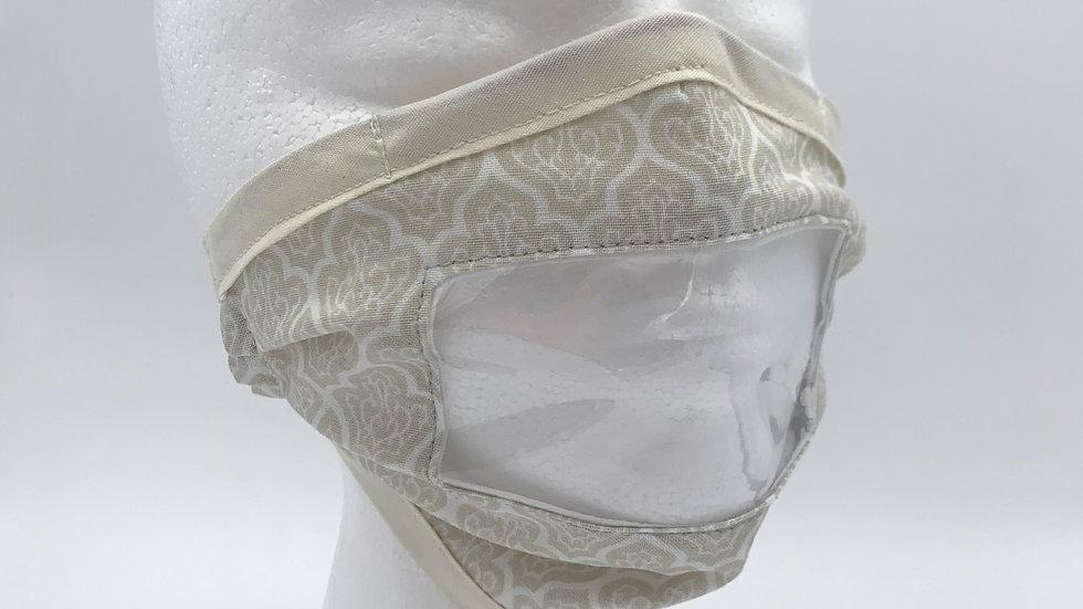 Beige & White Print - Adaptive Mask w/ Vinyl Window