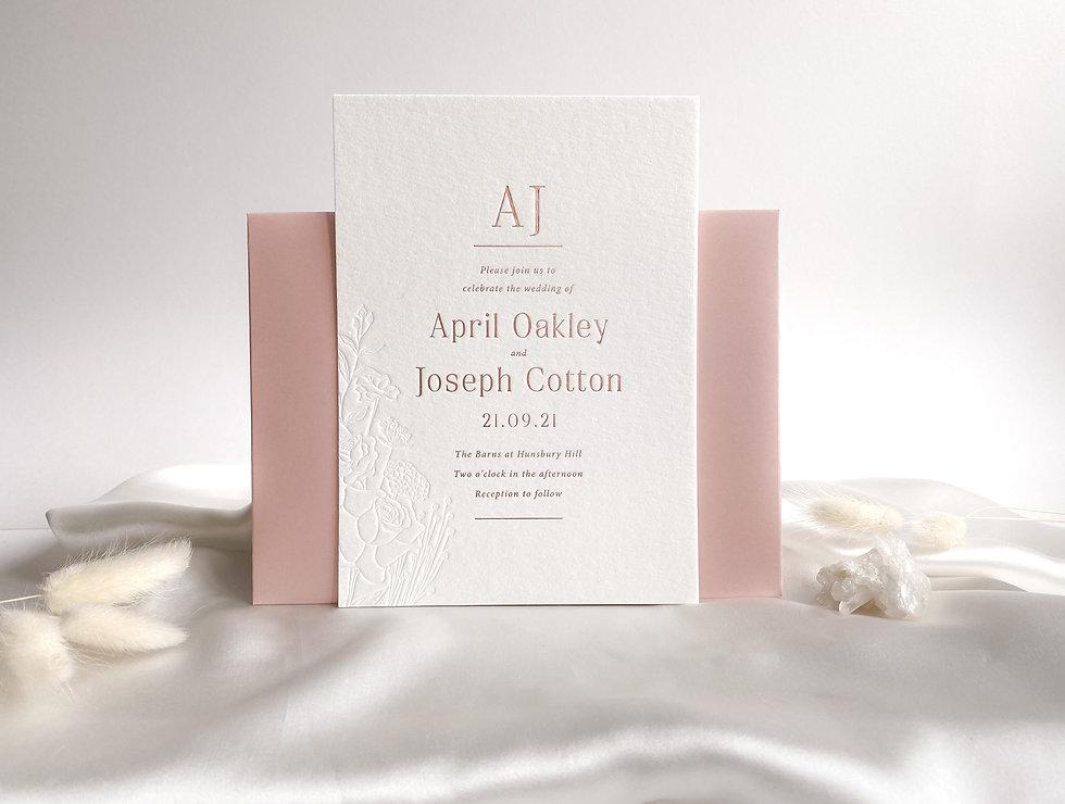 Blush pink rose gold hot foil wedding in