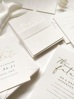 Luxury gold hot foil wedding invitation
