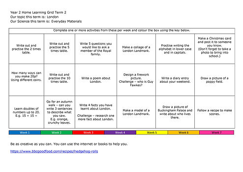 Year 2 Home Learning Grid 2020-2021 Term