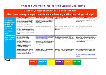 Year 1 Home Learning Grid Term 5 2020-20