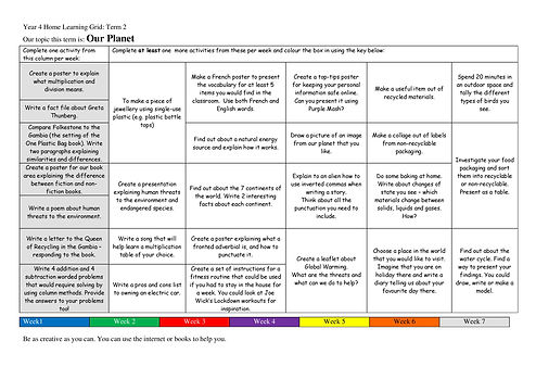 Year 4 Home Learning Grid 2020-2021 Term