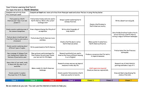 Year 5 Home Learning Grid 2018-2019 Term