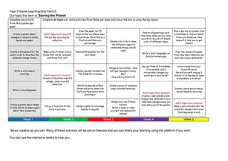 Year 5 Home Learning Grid Term 5 2020-20