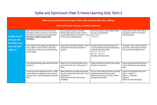 Year 1 Home Learning Grid 2020-2021 Term