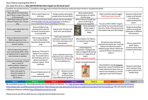 Year 6 Home Learning Grid 2020-2021 Term