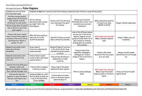 Year 5 Home Learning Grid 2020-2021 Term