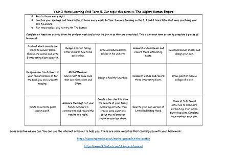 Year 3 Home Learning Grid Term 5 2020-20