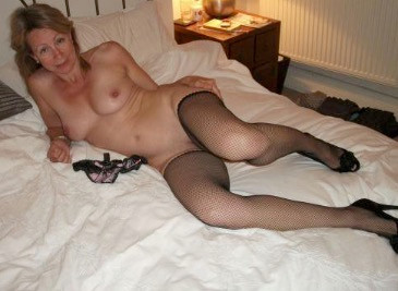 naked older lady in stockings