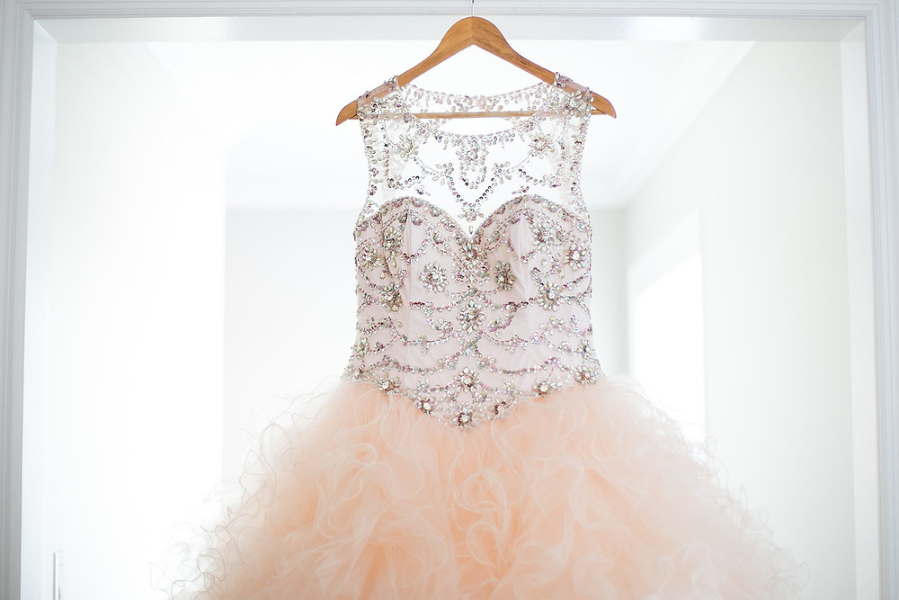 sparkly bling blush ball gown