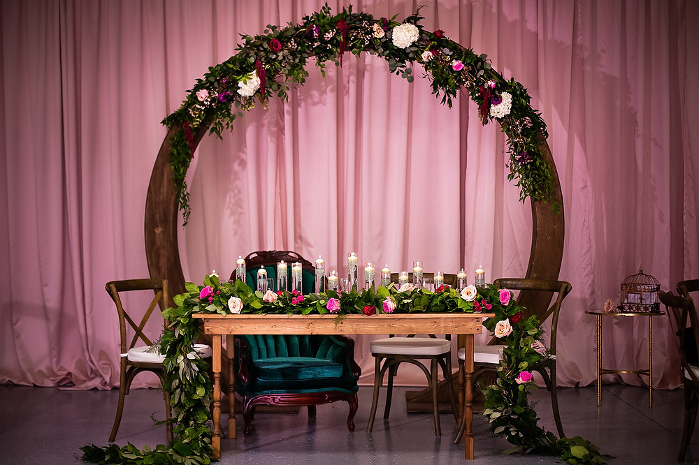 Circular Arch Flower Arch vintage furniture rental farm table french country chairs glass chargers