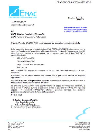 Riconoscimento ENAC Operazioni Critiche
