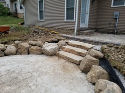 Natural stone is set