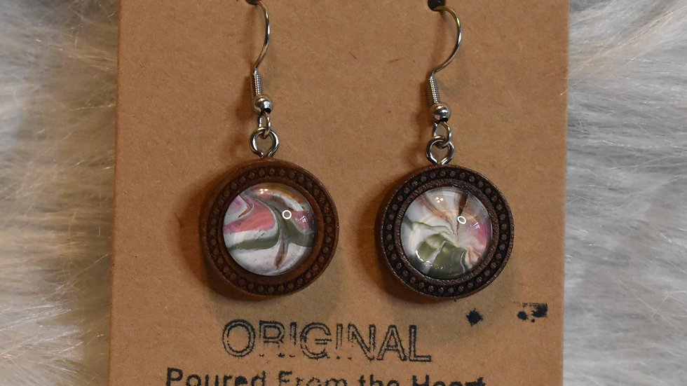 wooden setting on silver wires pink, olive and vandyke brown