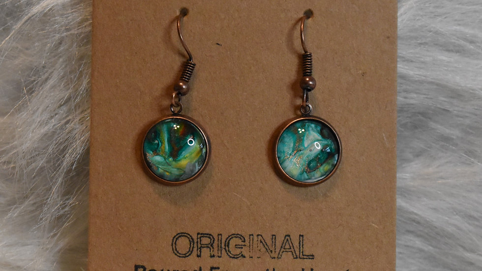 Turquoise green with copper wires