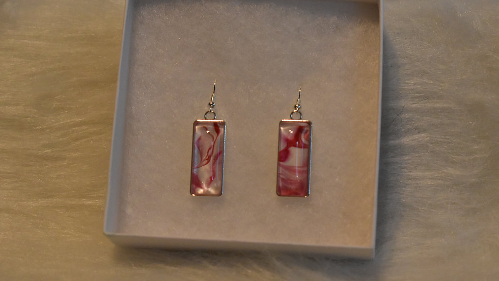 Earrings Silver and Pink