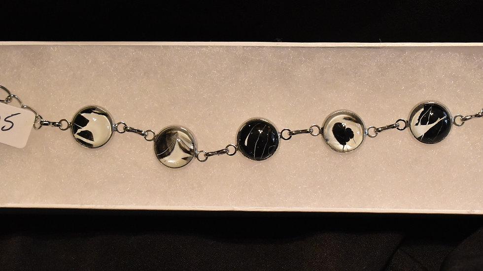 Black and white 6 stone bracelet