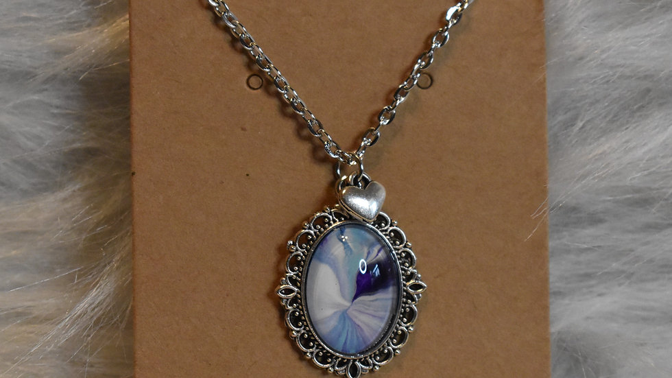 Silver Filigree with hues of blue