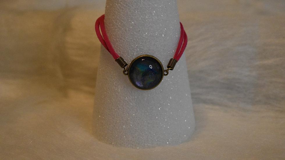 Girls single stone bracelet with pink leather strap