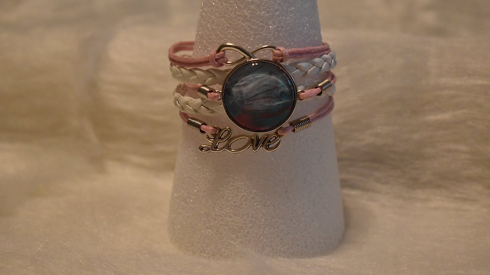 Pink and White Love Bracelet